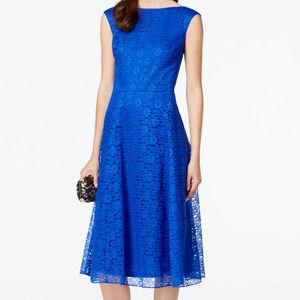 BETSEY JOHNSON Lace Tea-length Fit & Flare Dress